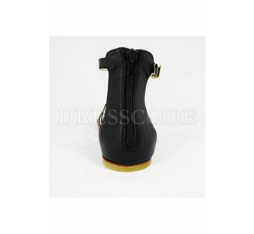 Elisabetta Franchi zwarte hoge sandaal met merknaam