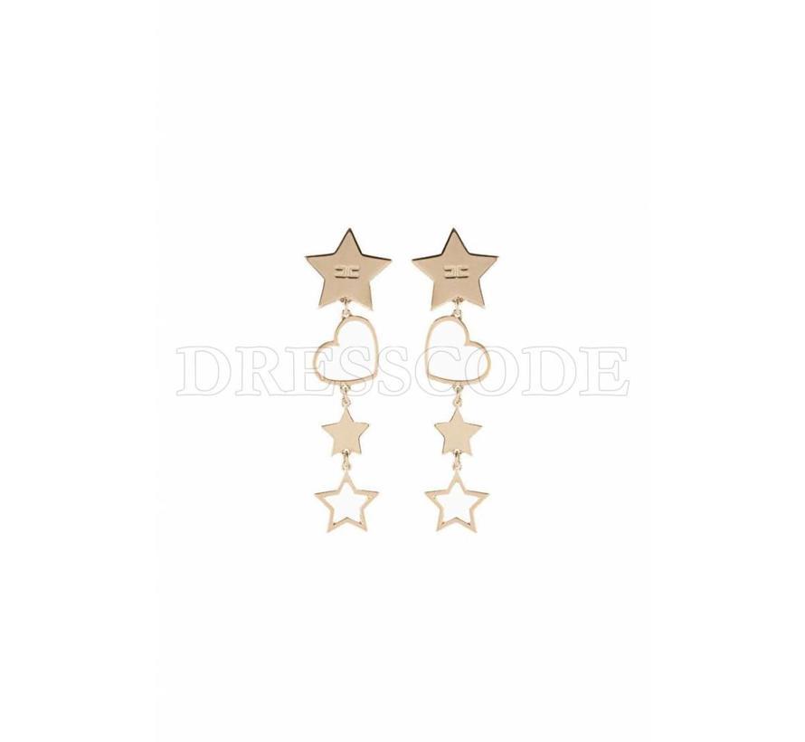 Elisabetta Franchi gouden oorbellen met sterren en een hartje