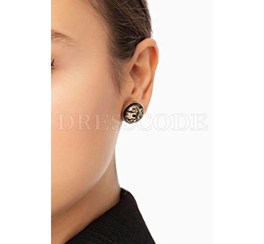 Elisabetta Franchi zwarte knopoorbellen met ketting en logo