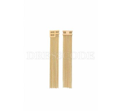 2. ELISABETTA FRANCHI Elisabetta Franchi gouden lange oorbellen met EF logo