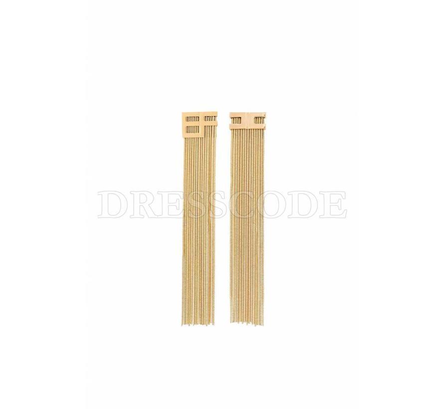 Elisabetta Franchi gouden lange oorbellen met EF logo