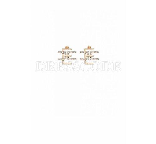 2. ELISABETTA FRANCHI Elisabetta Franchi gouden logo oorbellen met steentjes