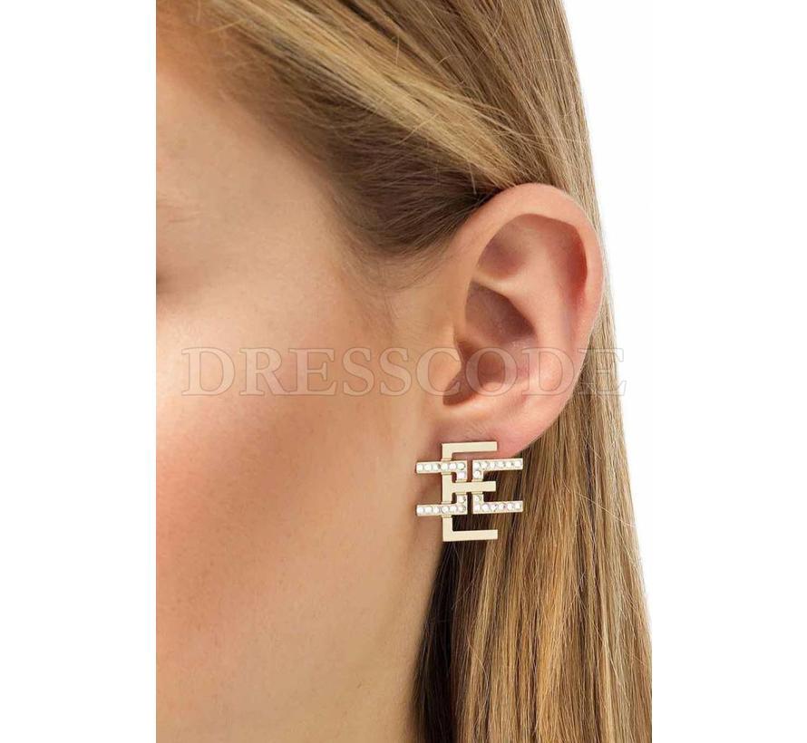 Elisabetta Franchi gouden logo oorbellen met steentjes