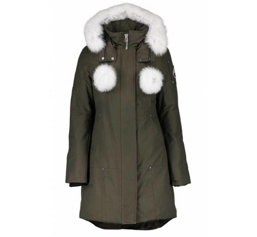 Moose Knuckles groene Real fur Stirling parka met wit bont