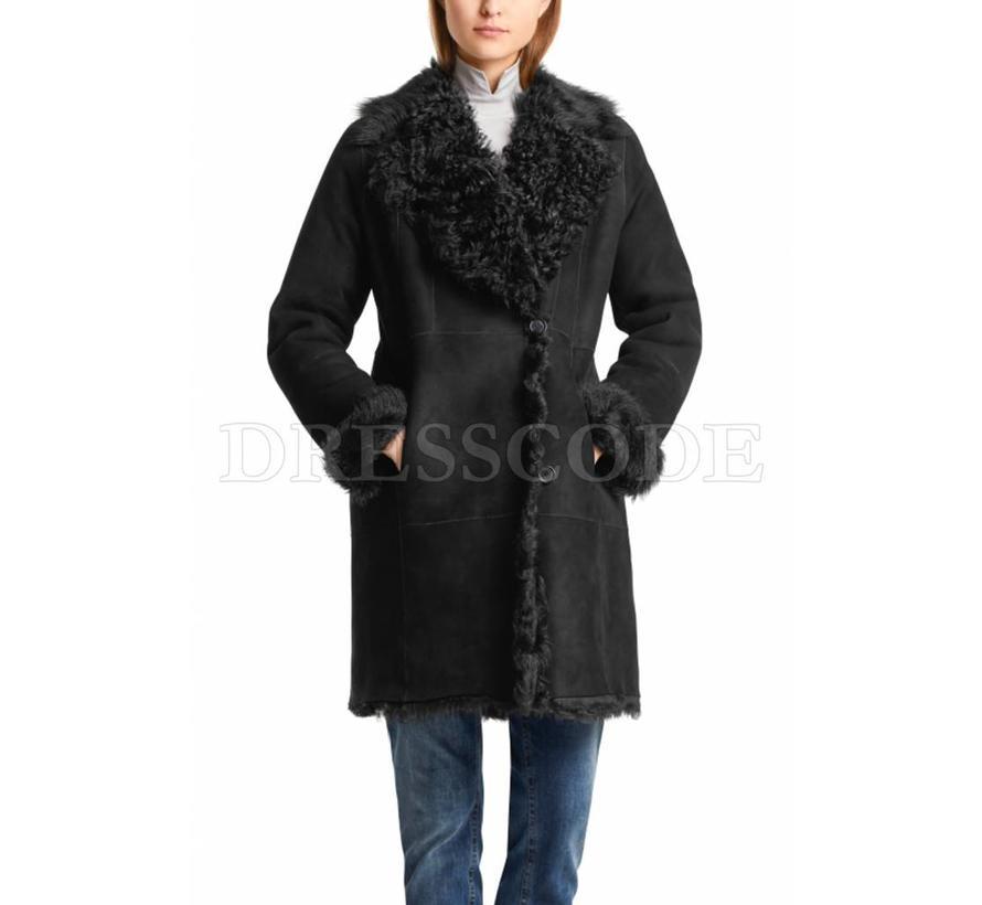 Marc Cain zwarte lammy coat