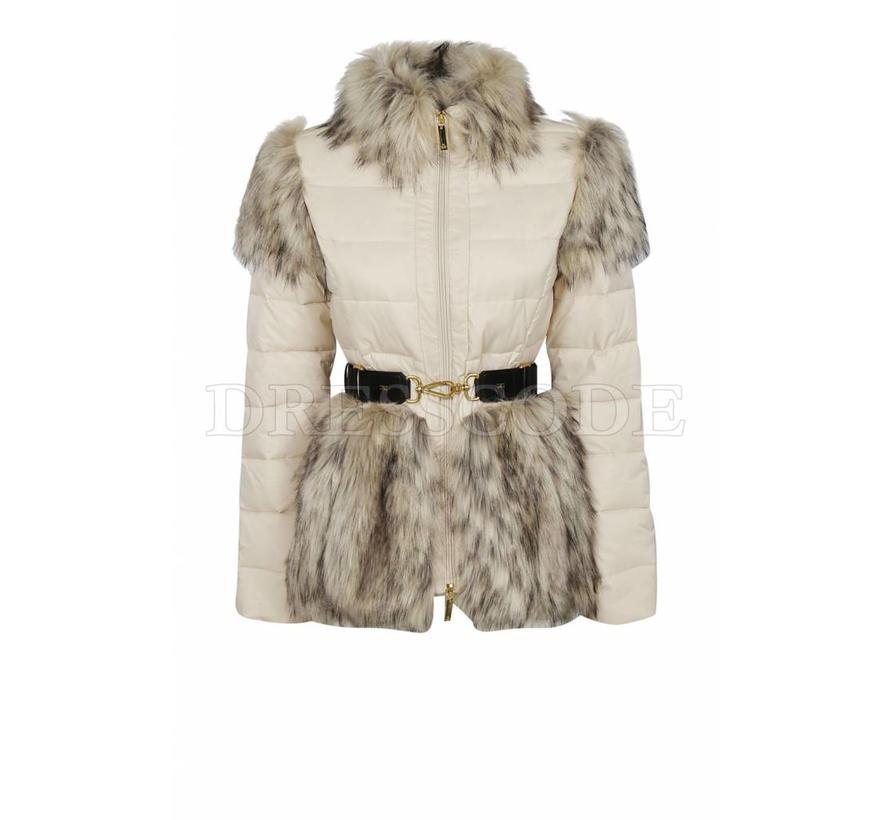Elisabetta Franchi beige jas met riem en eco bont