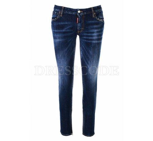 1. DSQUARED2 Dsquared2 blauwe medium waist plain twiggy jeans met rits