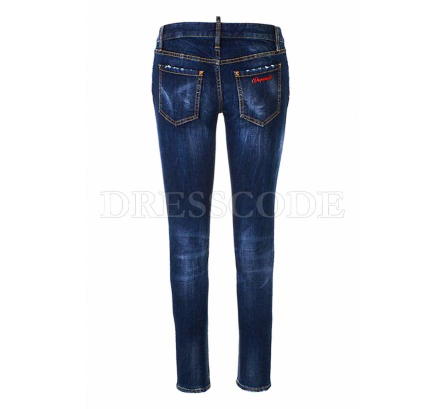 Dsquared2 blauwe medium waist plain twiggy jeans met rits