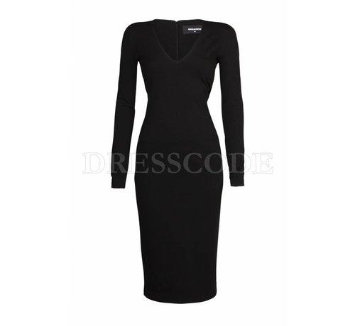 1. DSQUARED2 Dsquared2 zwarte jurk compact in jersey