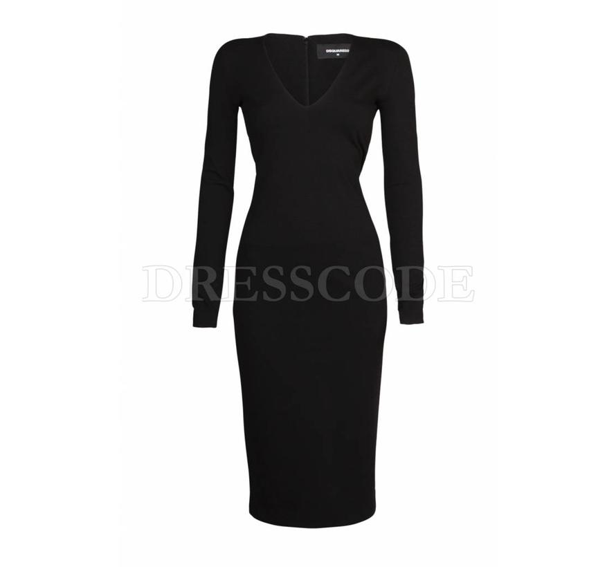 Dsquared2 zwarte jurk compact in jersey
