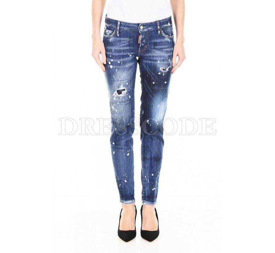 Dsquared2 blauwe jeans met witte spetters