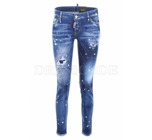 1. DSQUARED2 Dsquared2 blauwe jeans met witte spetters