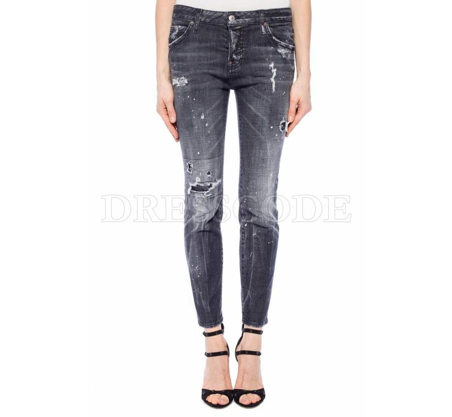 Dsquared2 grijze cool girl destroyed jeans met witte spetters