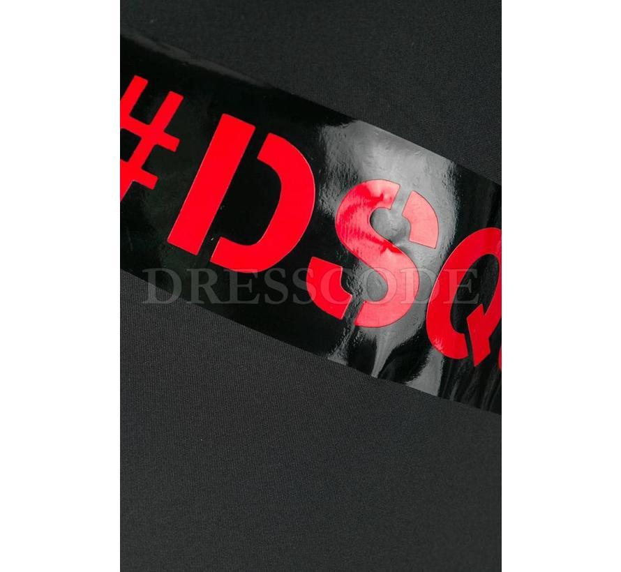 Dsquared2 zwart badpak met merknaam in rood op lak