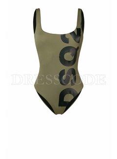 1. DSQUARED2 Dsquared2 badpak met DSQ2 in zwart Groen