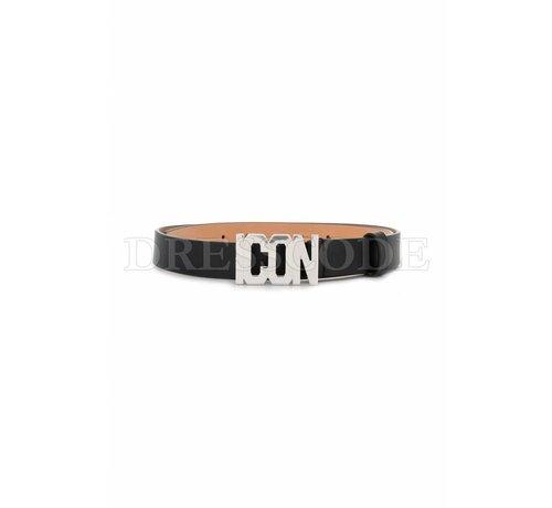 1. DSQUARED2 Dsquared2 zwarte riem met ICON logo in zilver
