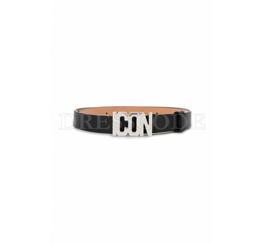 Dsquared2 zwarte riem met ICON logo in zilver