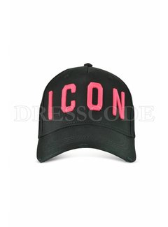 1. DSQUARED2 Dsquared2 Icon pet in zwart neon roze