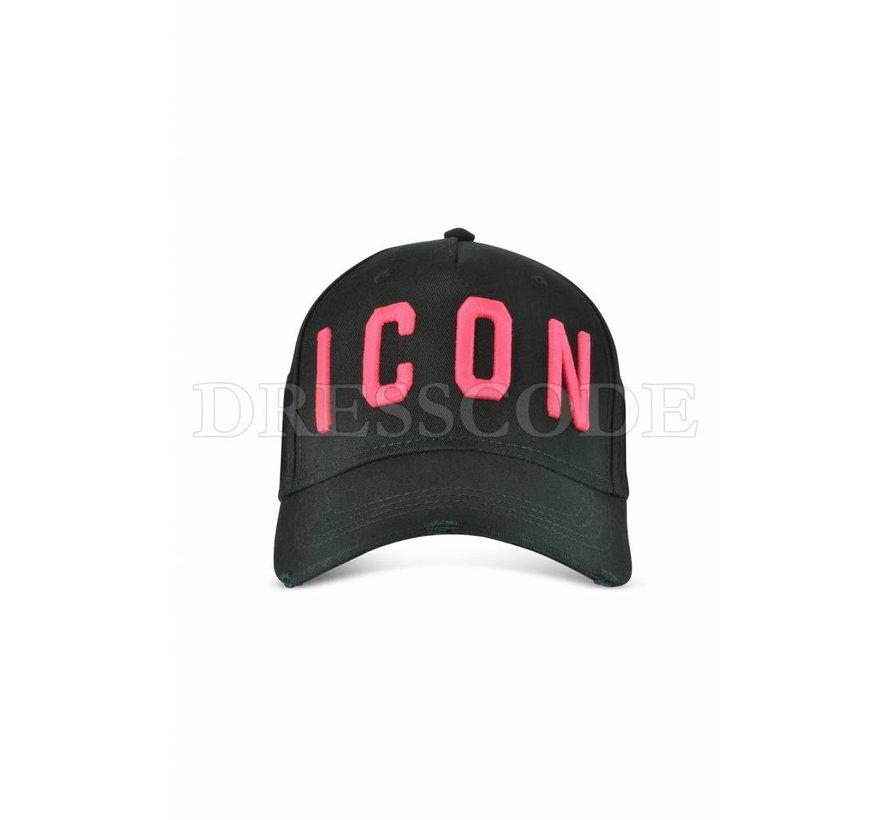 Dsquared2 zwarte pet met neon roze ICON