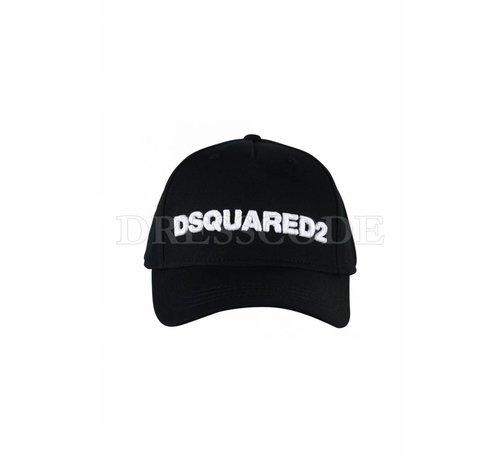 1. DSQUARED2 Dsquared2 zwarte pet met witte DSQUARED2