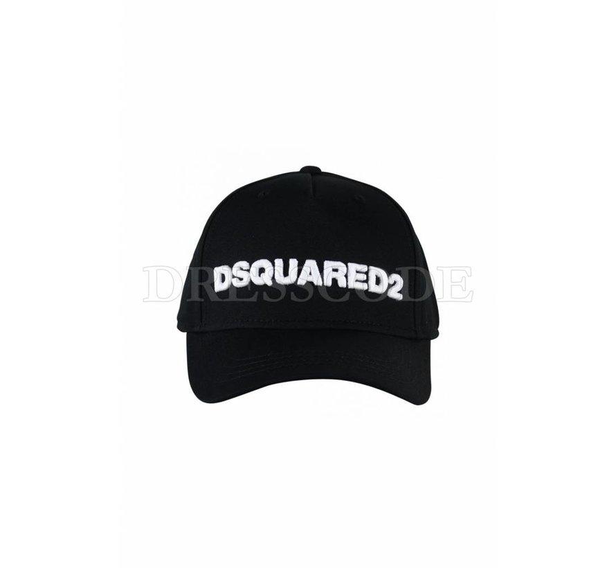 Dsquared2 zwarte pet met witte DSQUARED2