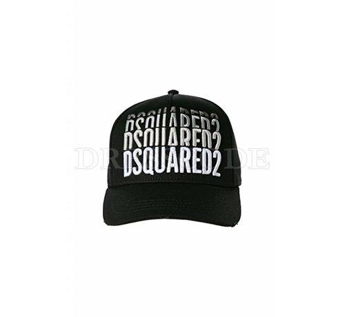1. DSQUARED2 Dquared2 zwarte pet met triple Dsquared2 logo