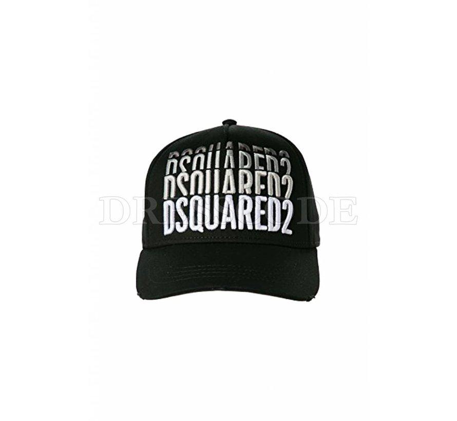 Dquared2 zwarte pet met triple Dsquared2 logo