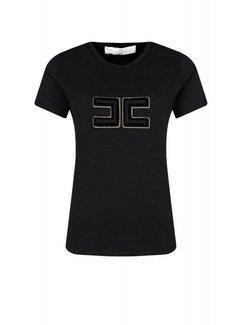 2. ELISABETTA FRANCHI Elisabetta Franchi t-shirt met logo in velours en goud Zwart
