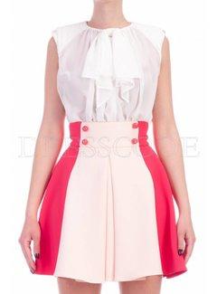 2. ELISABETTA FRANCHI Elisabetta Franchi jurk met blousetop en uitlopende rok Multicolor