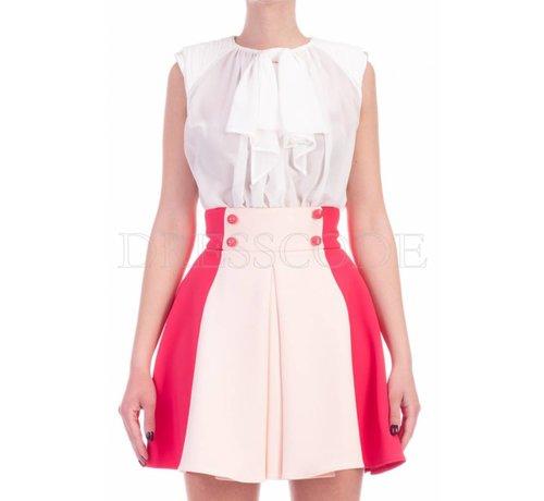 2. ELISABETTA FRANCHI Elisabetta Franchi multicolor jurk met blousetop en uitlopende rok