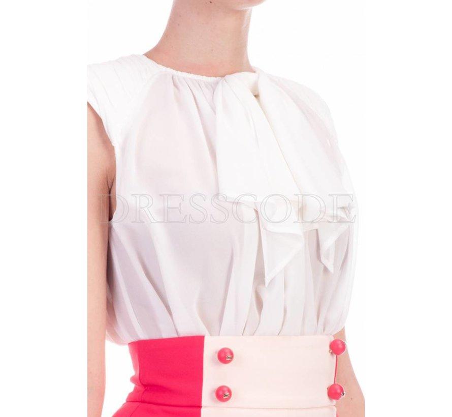 Elisabetta Franchi multicolor jurk met blousetop en uitlopende rok