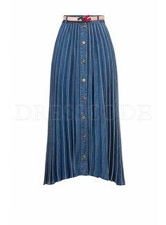 2. ELISABETTA FRANCHI Elisabetta Franchi demin plissé rok met riem Blauw