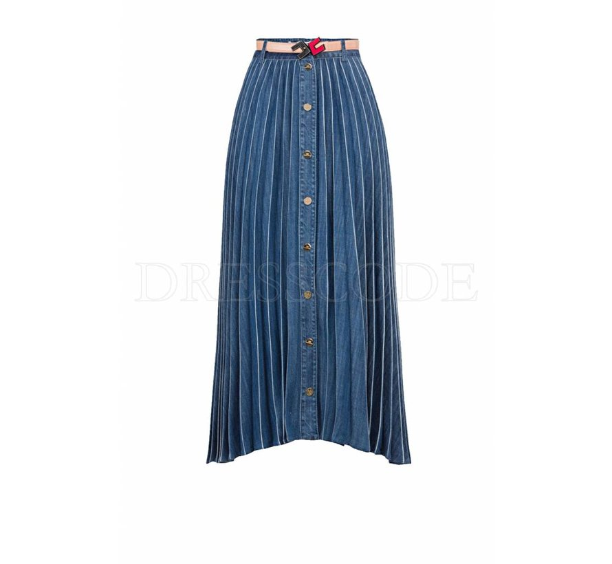 a2e6822376a74a Elisabetta Franchi demin plissé rok met riem - Dresscode