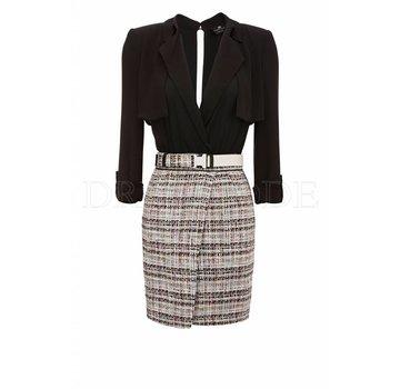 eb6be534f87fe3 ELISABETTA FRANCHI Elisabetta Franchi jurk met tweedrok en riem Zwart