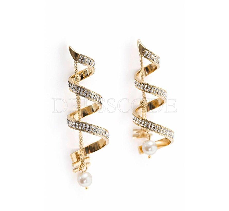 Elisabetta Franchi gouden spiraal oorbellen met steentjes