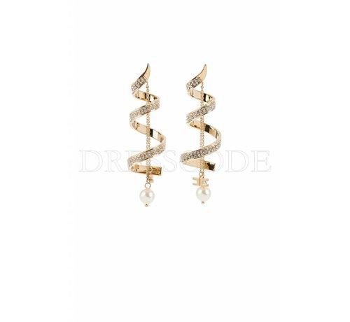 2. ELISABETTA FRANCHI Elisabetta Franchi gouden spiraal oorbellen met steentjes