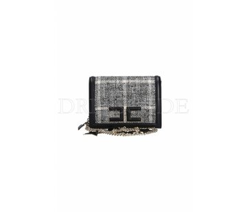 2. ELISABETTA FRANCHI Elisabetta Franchi crossbody tas met tweed stofje zwart