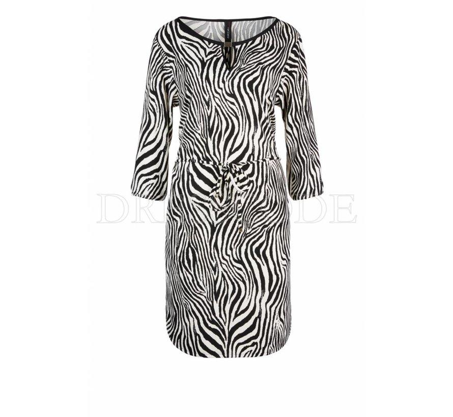 Marc Cain beige jurk in zebra-print