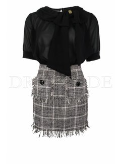 2. ELISABETTA FRANCHI Elisabetta Franchi jurk in tweedrok met blousetop met strik Zwart