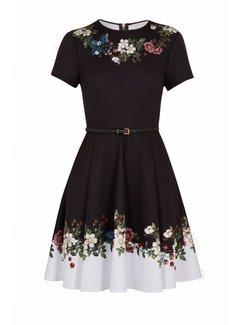 TED BAKER Ted Baker uitlopende jurk met bloemen Chestna Zwart