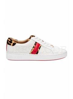 9. MICHAEL KORS Michael Kors Sneaker Irving Stripe lace up met panterdetail Wit