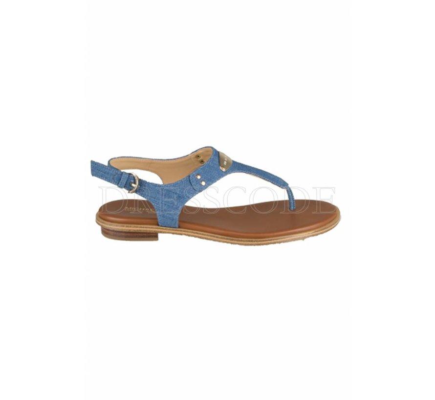 5ecb6b6ce35 Michael Kors blauwe sandaal MK plate in denim - Dresscode