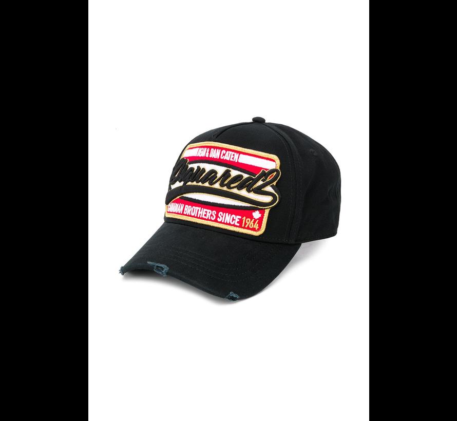 Dsquared2 baseball cap met logo en goud Zwart