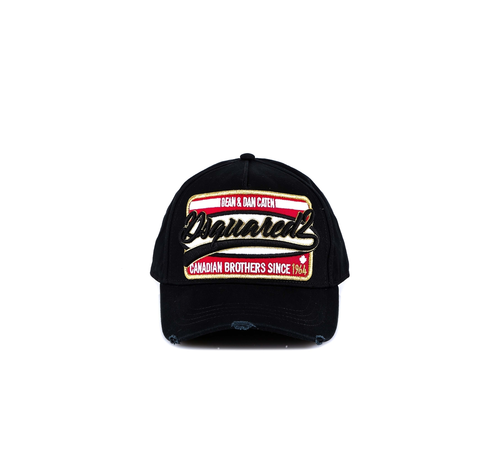 1. DSQUARED2 Dsquared2 baseball cap met logo en goud Zwart
