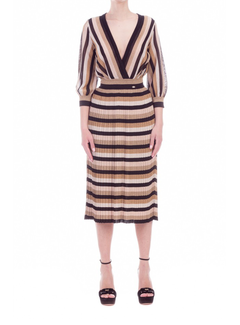 2. ELISABETTA FRANCHI Elisabetta Franchi jurk in lurex strepen Zwart
