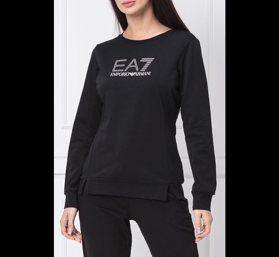 Armani EA7 sweater met EA7 logo in strass Zwart