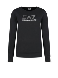ARMANI EA7 Armani EA7 sweater met EA7 logo in strass Zwart