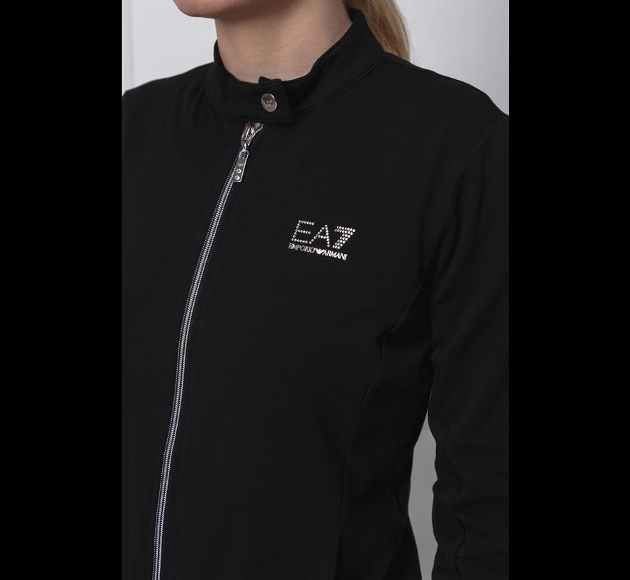 Armani EA7 tracksuit met logo in strass Zwart