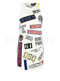 1. DSQUARED2 Dsquared2 jurk met patches Wit