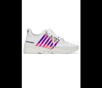 1. DSQUARED2 Dsquared2 sneaker met metallic roze strepen Wit